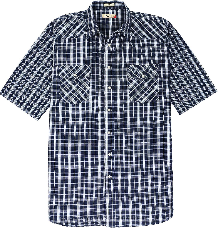 ROCXL Big & Tall 3XL – 6XLT Men's Short Sleeve Western Shirt - Plaids Snaps