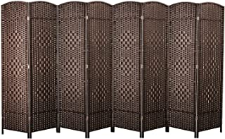cocosica Weave Fiber Room Divider, Natural Fiber Folding Privacy Screen with Stainless Steel Hinge & 8 Panel Room Screen Divider Separator for Decorating Bedding, Dining, Study and Sitting Room