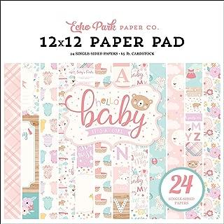 Echo Park Paper Company Hello Baby Girl 12x12 Pad Paper, Pink, Teal, Yellow, Purple, Orange