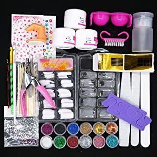 Kapeiluo Acrylic Nail Kit, Shiny Glitter Acrylic Nail Decorations Set, DIY Nail Art Tool Acrylic Nail Brush Nail Supplies ...