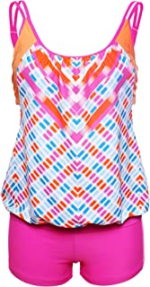 Sidefeel Women Stripes Lined Two Piece Tankini Set XX-Large Rosy