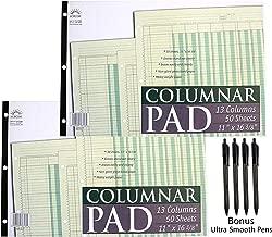 Norcom Columnar Pad 13 Columns, 11 x 16.375 Inches, 50-Sheets, Green (76713-10) … (2)