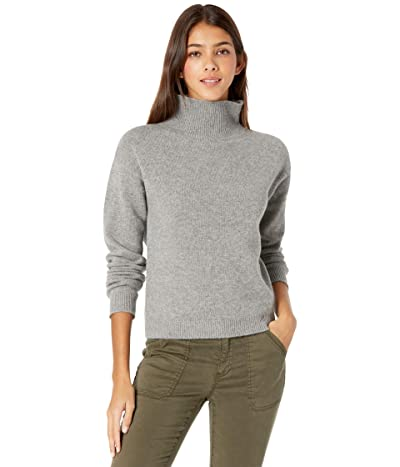 Majestic Filatures Wool Cashmere Long Sleeve Mock Neck Sweater (Gris Chine) Women