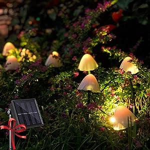 Raising Witt Solar Mushroom Fairy String Lights 20Led Outdoor Waterproof 16Feet 8Modes Solar Powered In Ground Lights Decoration for Garden Patio Yard Landscape Lawn Path Wedding Party Christmas(warm)
