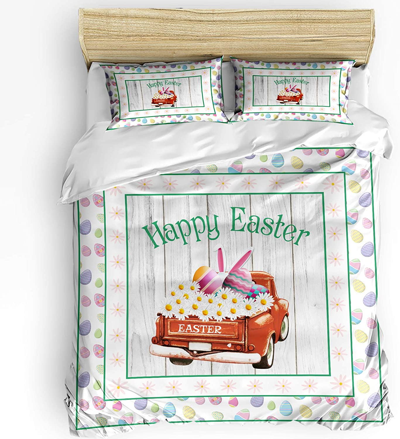 low-pricing Duvet Cover Set 3-Piece Happy Easter with and Flowers Bun Seasonal Wrap Introduction Truck