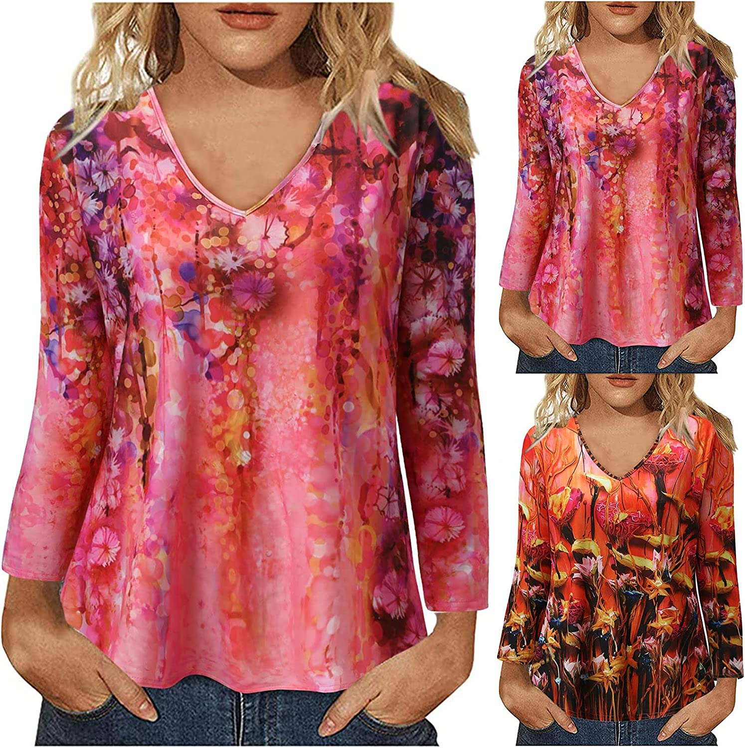 Womens Vintage Tops for Women Printed Blouse Flower Sleeves Ranking Mesa Mall TOP2 Long