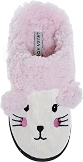 Laura Ashley Kids Girls Cat Sherpa Knitted Slippers (See Colors and Sizes)