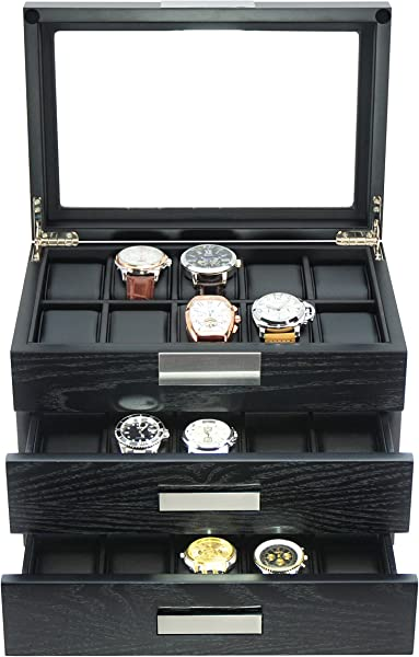 TimelyBuys Ebony Wood Watch Box Display Case Storage Jewelry Organizer With Glass Top Stainless Steel Accents And Oversized Black Pillows