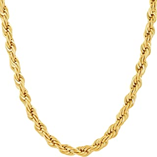 Lifetime Jewelry 6MM Rope Chain 24K Gold with Inlaid Bronze Premium Fashion Jewelry Pendant Necklace Made to Wear Alone or with Pendants Guaranteed for Life 24 Inches