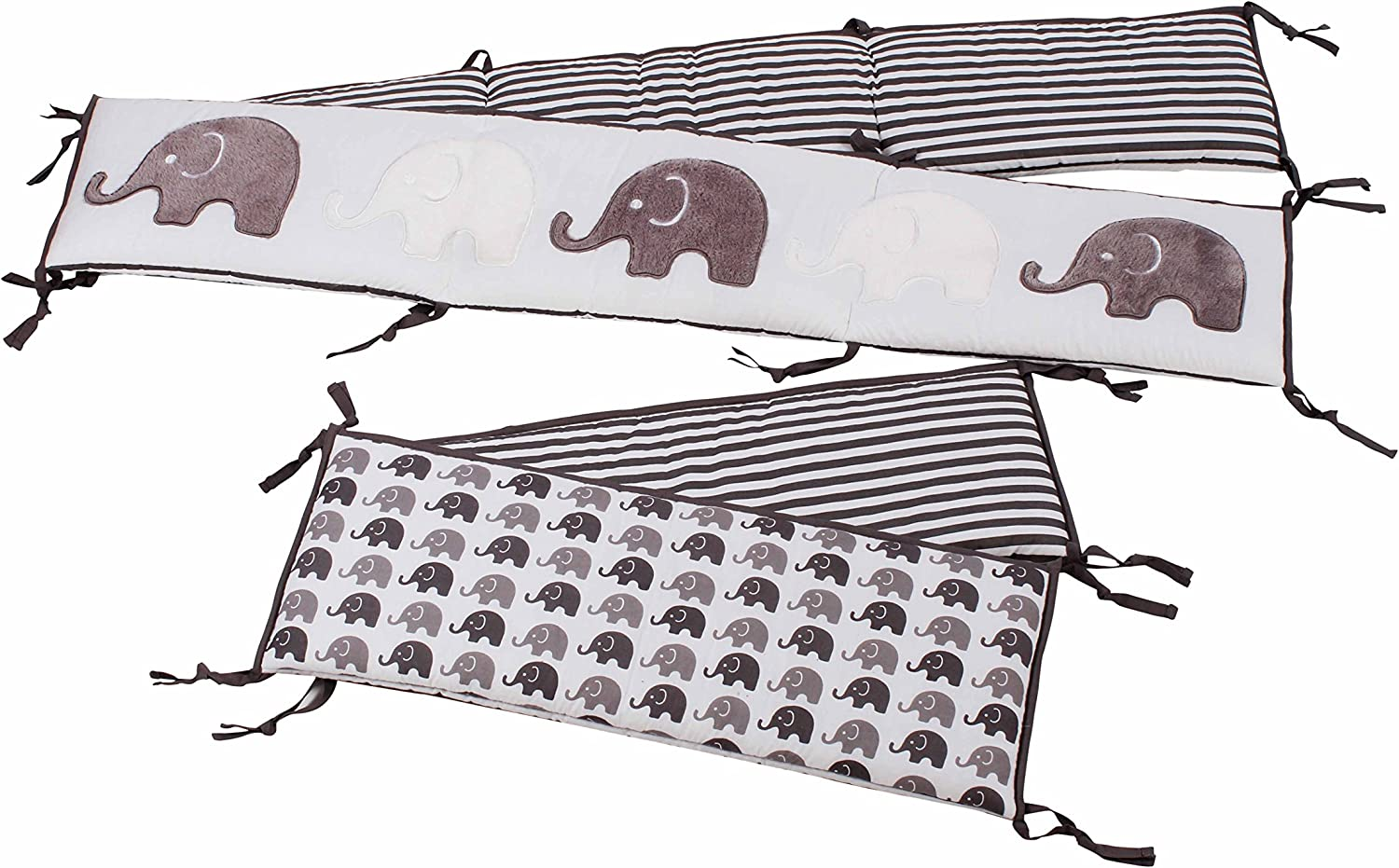 Bacati Elephants Unisex 4 Piece Bumper Pad 100 Percent Cotton Percale Shell with Polyester Filling for US Standard Cribs, Grey