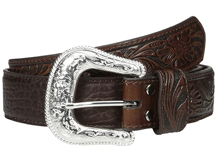 M F Western Bullhide Tooled Tabs Belt