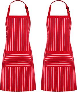 Puroma 2 Pack Adjustable Bib Pinstripe Apron with 2 Pockets, Unisex Cooking Kitchen Aprons for Chef Couple BBQ Painting, Red