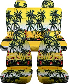 Totally Covers compatible with 1998-2011 Volkswagen New Beetle/Bug Hawaiian Seat Covers: Yellow with Palm Tree - Full Set ...