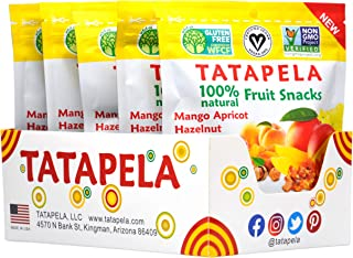 Tatapela 100% Natural Fruit Snacks, 5 Pack, Mango Apricot Hazelnut, No Added Sugar, Chewy Bites, Deliciously Healthy and L...