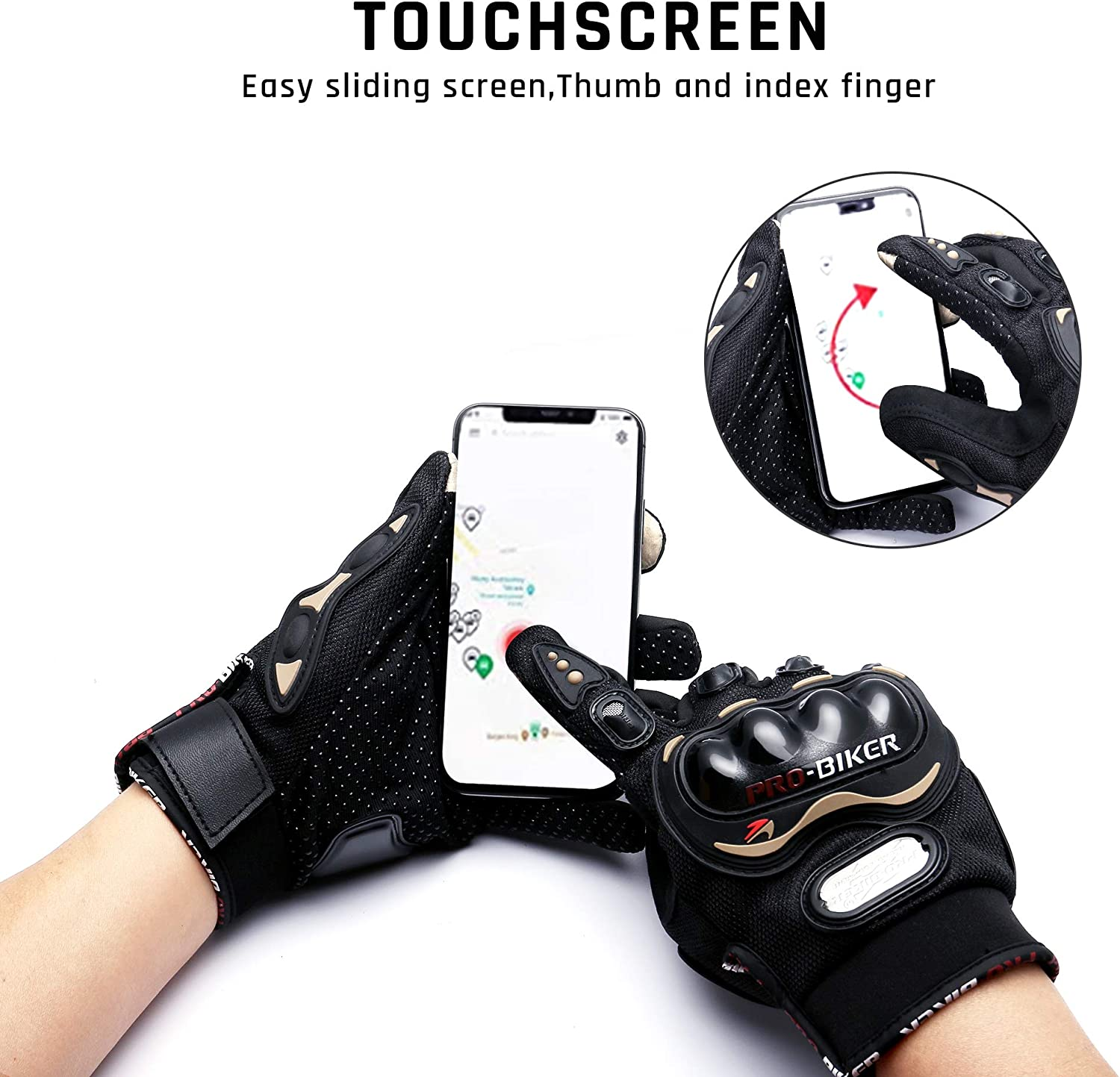 Touch Screen Motorcycle Gloves Motorbike Gloves for BMX ATV MTB Riding Road Racing Cycling Climbing Motocross etc MCS-27, M