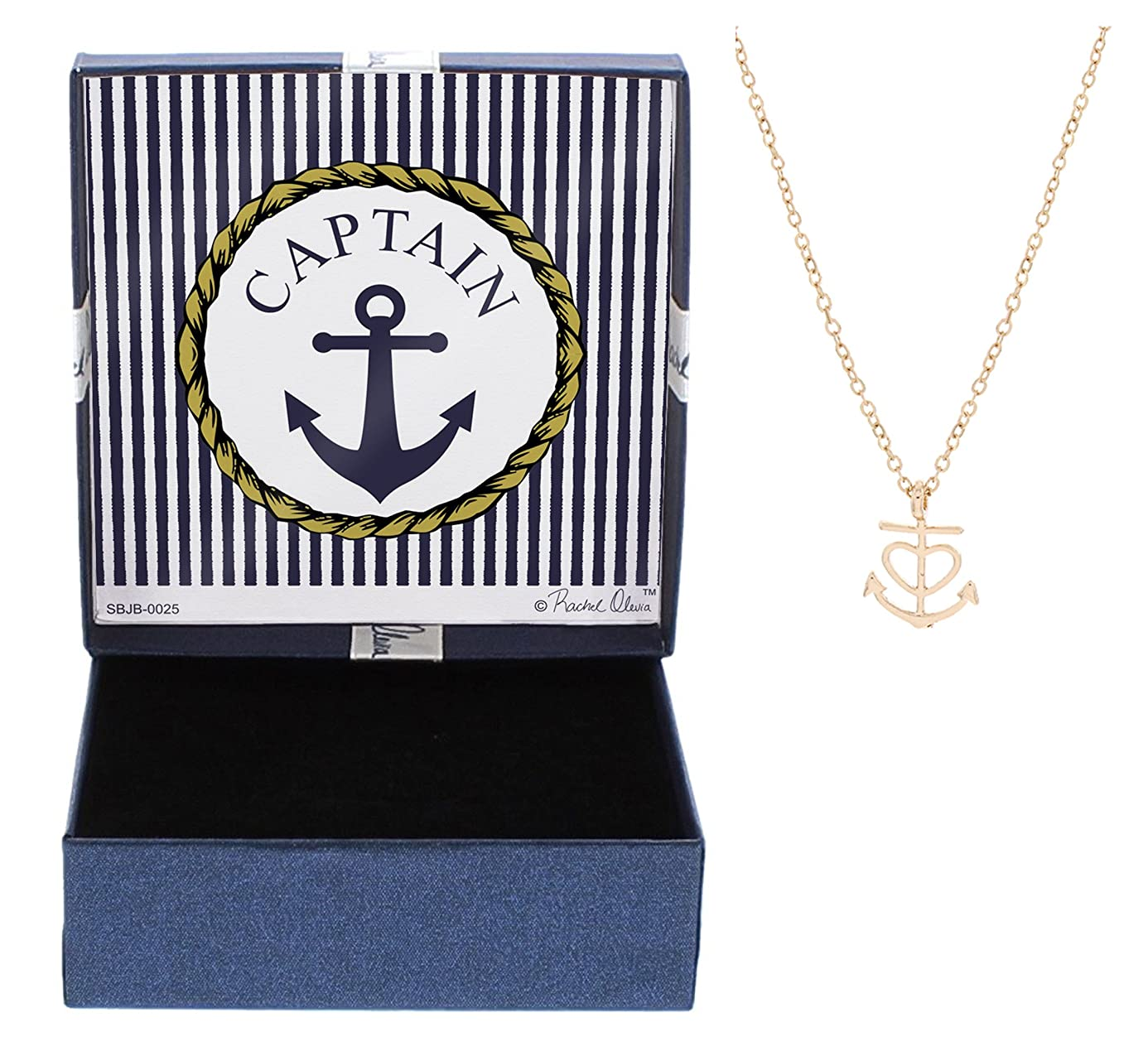 Nautical Jewelry Captain Necklace Cable Chain Anchor with Heart Necklace Jewelry Box jfh4627433