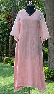 MerakiByPrianna Pink Chanderi Kurti with Pearl Neck