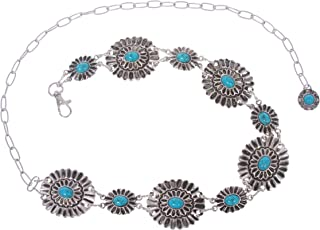Women's Western Turquoise Stone Blue Concho Chain Belt