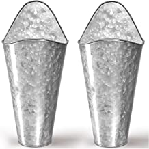 Galvanized Wall Planters - Two (2) Large Premium. Farmhouse Metal Hanging Vase. Rustic Decor. Tall Container for Flowers or Planets. Tin Style Bucket or Pocket by Hallops