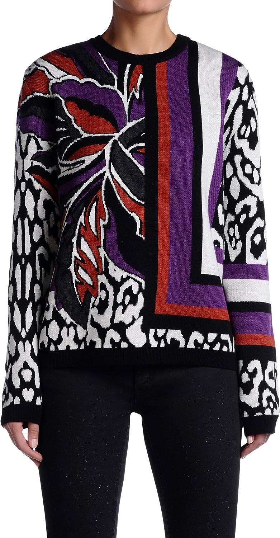 Just Cavalli Women's Multicolor 100% Wool Crewneck Sweater US S IT 40