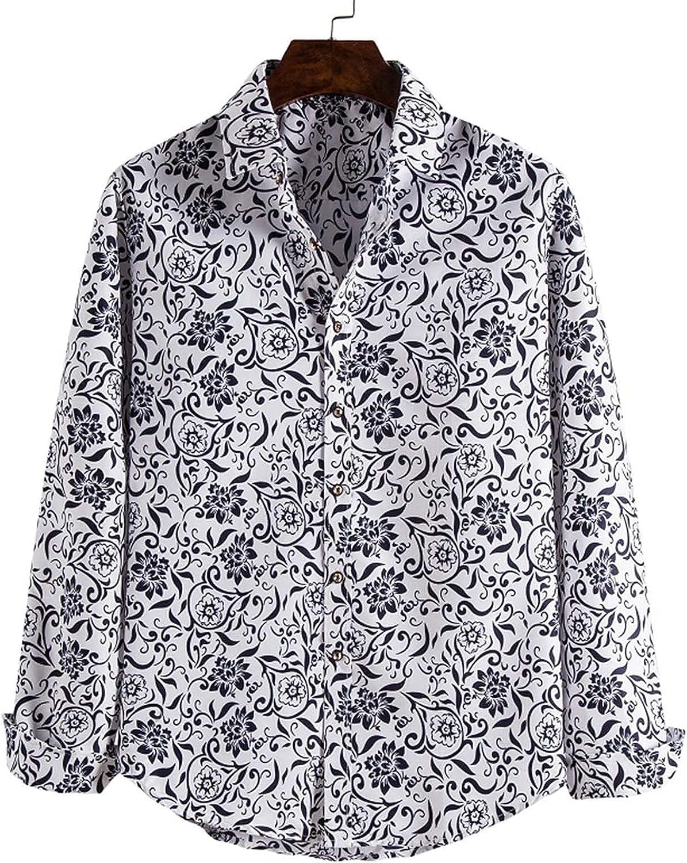 Zainafacai Men Floral Dress Shirts Long Sleeve Casual Button Down Print Shirts Cotton Retro Hipster Slim Fit Party Shirts