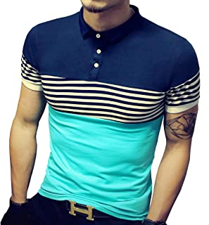 LOGEEYAR Mens Summer Slim Fit Contrast Color Stitching Stripe Short Sleeve Polo Casual T-Shirts