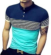 LOGEEYAR Mens Summer Slim Fit Tshirt Contrast Color Stitching Stripe Short Sleeve Casual Polo Shirt