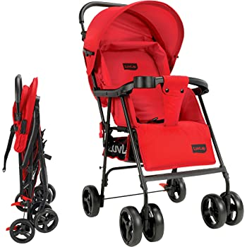 LuvLap Delight Stroller/Pram, with Suspension, for New Born Baby/Kids, 0-3 Years (Red)