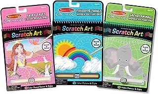 Melissa & Doug On the Go Scratch Art Activity Books Set - Fairy Tales, Favorite Things, Safari Animals