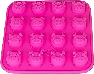 Silikonform mit 16 Schweinchen, Eiswürfelform Schwein, Pralinenform, Schokoladenform, 17 x 17 x 2cm, Giessform, Silicone Mold, Silvester, New Year, Glück, Deko Kuchen, Farbe: Pink