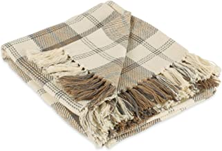 "DII Farmhouse Woven Throw, 50x60 with 3"" Fringe, Stone"