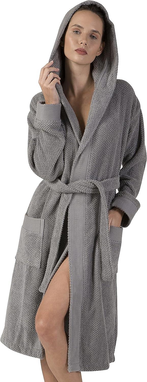 Turkish Cotton Terry Women's Premium Bathrobe - Hooded, Kimono Cotton Terry Cloth Robe - Long Textured, Rice Weave Trim