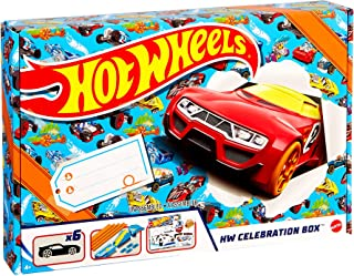 Hot Wheels Hw Celebration Box Complete Starter Set With 6 Hot Wheels 1:64 Scale Cars, Track, Connectors, 4-Speed Launcher,...