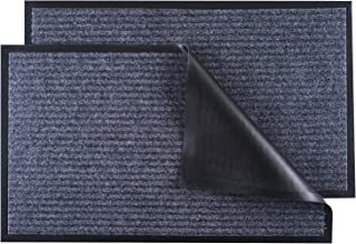 """LOCONHA Door Mat Outdoor Indoor (30""""x17"""")- 2 Pack, Waterproof Anti-Slip Durable Rubber Doormat Low-Profile Design Floor Fr..."""