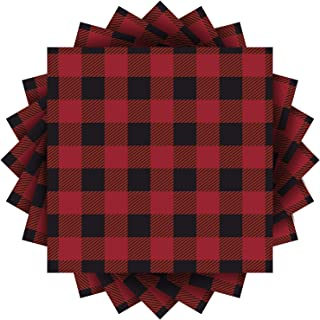 Aneco 60 Pack Red and Black Plaid Papers Napkins Luncheon Napkins for Wedding, Party, Birthday, Dinner, Lunch with 3 Layer...