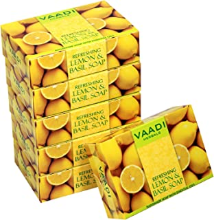 Vaadi Herbals Super Value Refreshing Lemon and Basil Soap, 75gms x 6