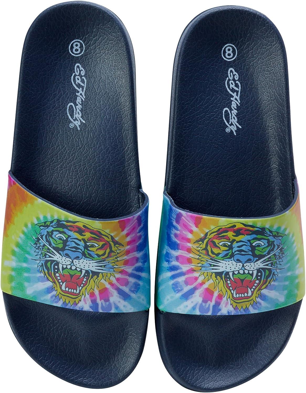 ED HARDY Women's Sandals - Slip-On Beach/Pool Slides with Tattoo Prints