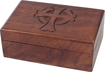 Stonebriar Natural Wood Rectangle Keepsake Box with Hinged Lid, Decorative Trinket Box, Unique Rosary