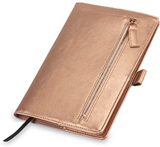 Samsill Notebook Portfolio - Business Portfolio for Women, Notebook Holder with Zipper Accessory Pocket, Refillable 5x8 Notepad, Rose Gold