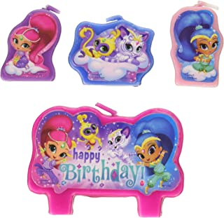 amscan Shimmer and Shine Happy Birthday Candle Sets (4 ct) One Size, Multicolor