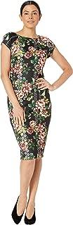 eci Women's Cap Sleeve Floral Border Print Midi Knit Scuba Dress