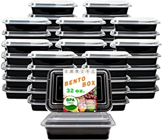New Century, 50-Pack [32 oz] 1-Compartment Food Container - Rectangular Meal Prep Bento with Lid - Portable Lunch Box - St...