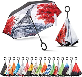 Inverted Umbrella, Umbrella Windproof, Reverse Umbrella, Umbrellas for Women with UV Protection, Upside Down Umbrella with C-Shaped Handle