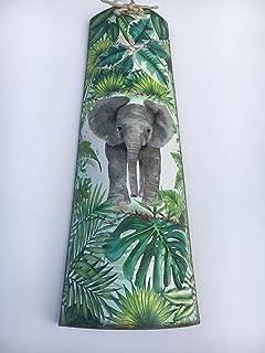 teja decorativa con elefante y hojas tropicales
