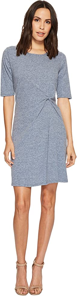 Mod-o-doc - Marbled Jersey Elbow Sleeve Twist Front Dress