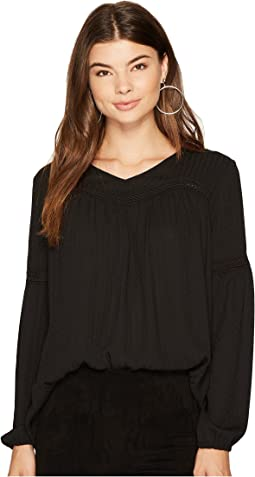 Irvin Shadow Stripe Top with Lace Ribbon Trim