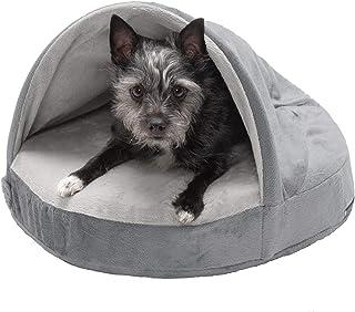 Furhaven Pet Dog Bed | Cooling Gel Memory Foam Orthopedic Round Cuddle Nest Micro Velvet Snuggery Blanket Pet Bed w/Remova...