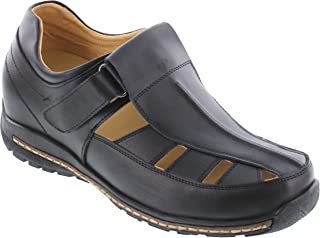 f14931e68cc6 Toto Men s Invisible Height Increasing Elevator Shoes - Black Leather  Fisherman Sandals - 2.8 Inches Taller
