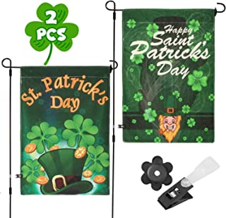 Whaline 2 Pack St. Patrick Garden Flag Double-Sided Irish Green Shamrocks House Flag, Decorative Clover Indoor Outdoor Home Flag for Happy St Patrick's Day Garden Decoration, 12 x 18 Inch