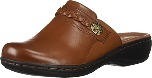 Clarks Wouomo Leisa autoly Clog, Dark Tan Leather, 075 M US
